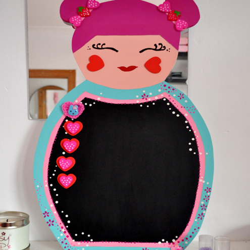 Large Kokeshi doll chalkboard